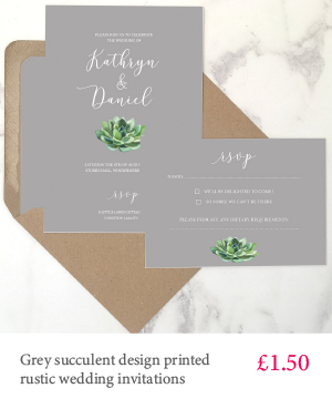 Grey succulent design wedding invitation with white or kraft envelope
