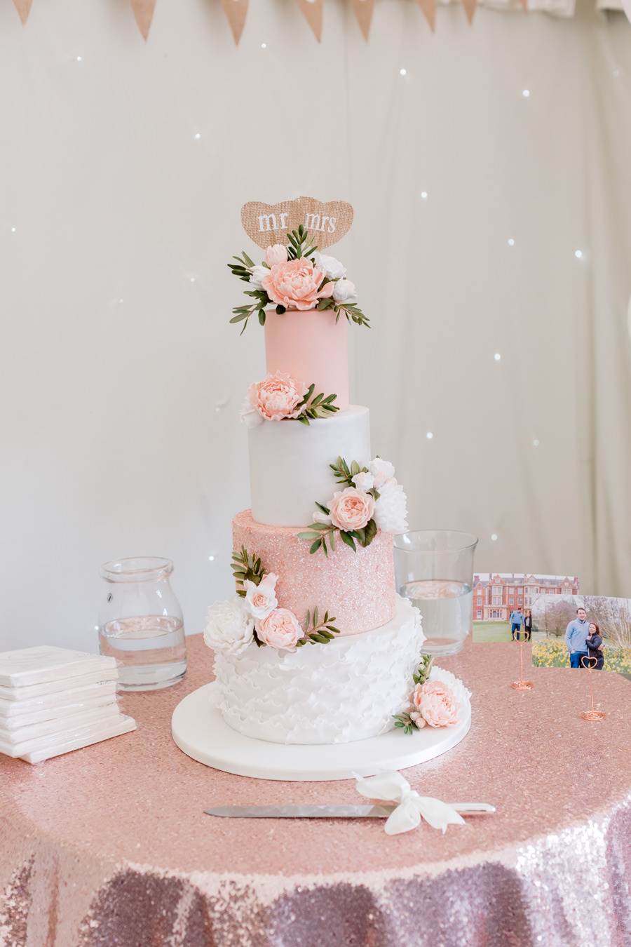 Elegant styling and sparkly tables for a pretty Chippenham Park wedding, images by Heather Jackson Photography (31)