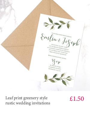 Leaf print wedding invitation with white or kraft envelope and optional inserts