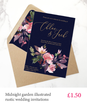 Midnight garden gold foil print floral wedding invitation with white or kraft envelope