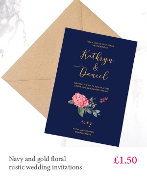 Navy and gold floral wedding invitation with white or kraft envelope