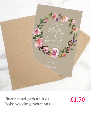 Rustic boho garland floral wedding invitation with extra inserts and white or kraft envelopes