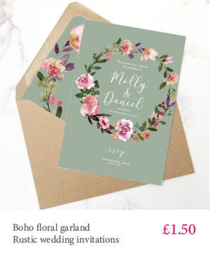 Rustic green boho garland floral wedding invitation with extra inserts and white or kraft envelopes