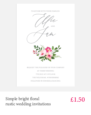 Bright floral cheap wedding invitations with white or kraft envelope and matching extras