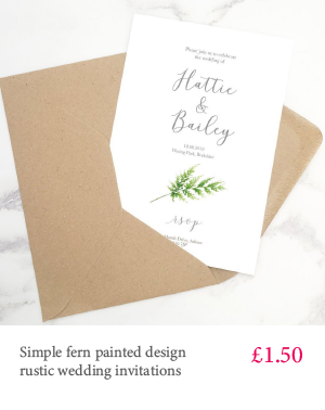 Fern leaf wedding invitations - cheap botanical style printed wedding invitations with white or kraft envelope and matching extras
