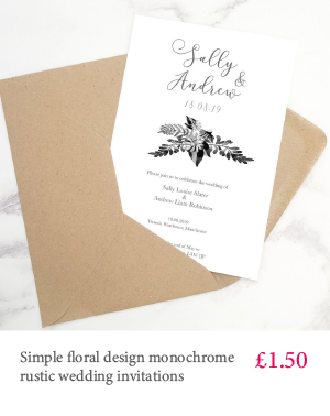 Simple floral design cheap grey font wedding invitation
