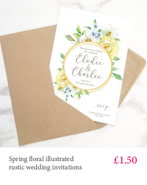 Spring floral rustic botanical wedding invitations