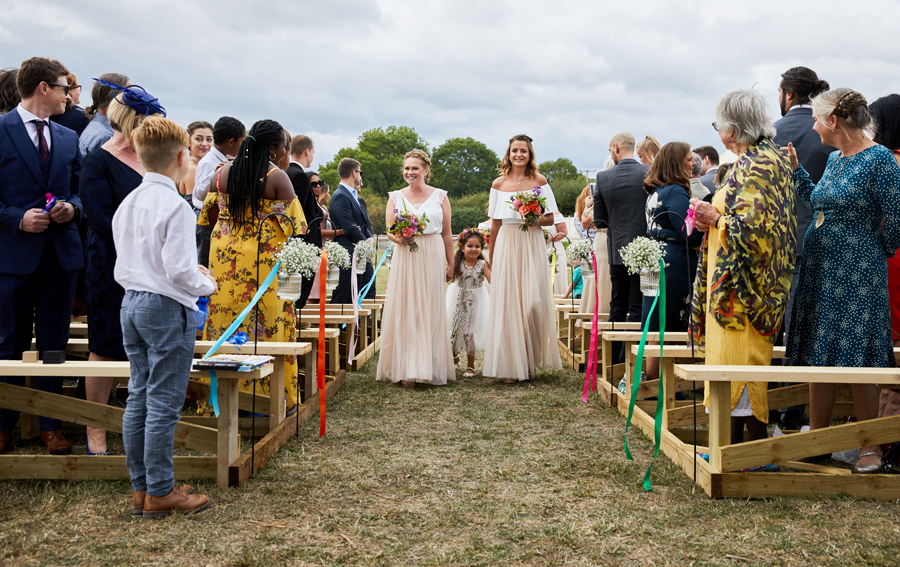 Vibrant ribbon streamers for a summer festival wedding with Simon Withyman Photography (11)