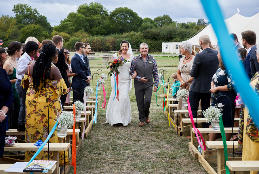 Vibrant ribbon streamers for a summer festival wedding with Simon Withyman Photography (12)
