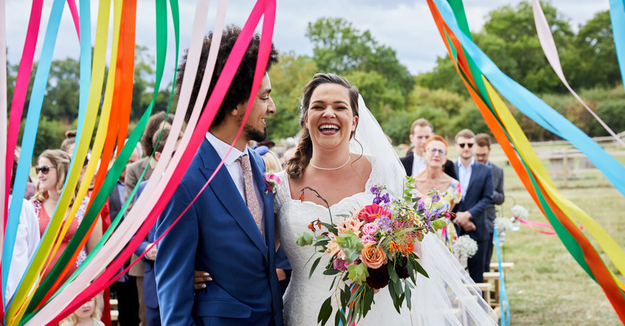 Vibrant ribbon streamers for a summer festival wedding with Simon Withyman Photography (13)