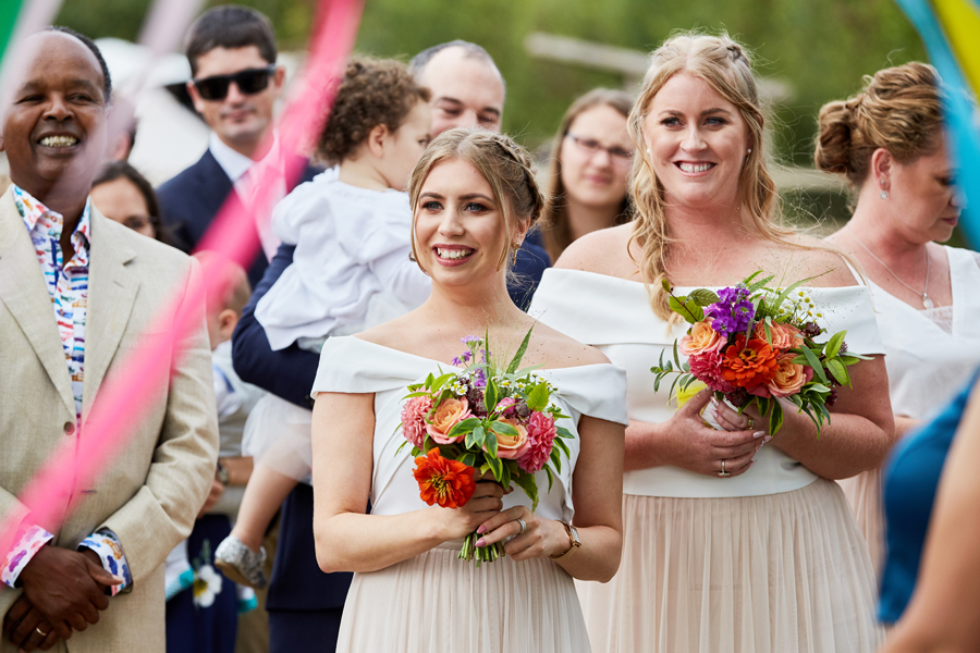 Vibrant ribbon streamers for a summer festival wedding with Simon Withyman Photography (14)