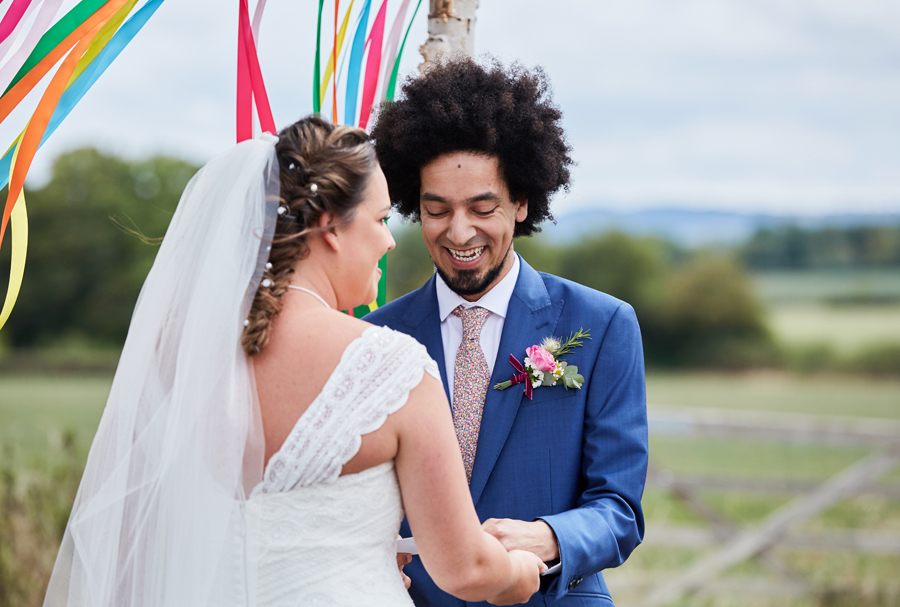 Vibrant ribbon streamers for a summer festival wedding with Simon Withyman Photography (18)