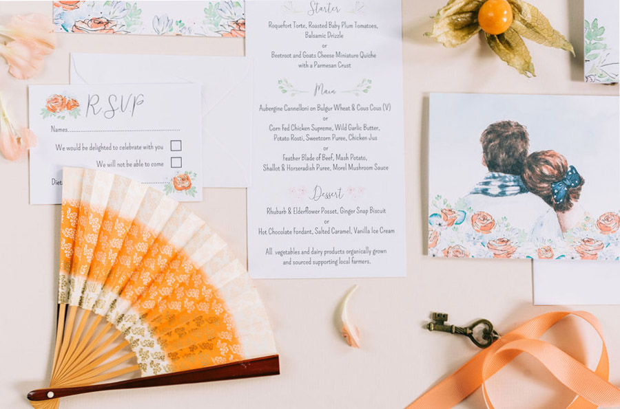 coral and neutral colour palette for a stunning wedding look with Corky and Prince, image credit Rachel Jane Photography (14)