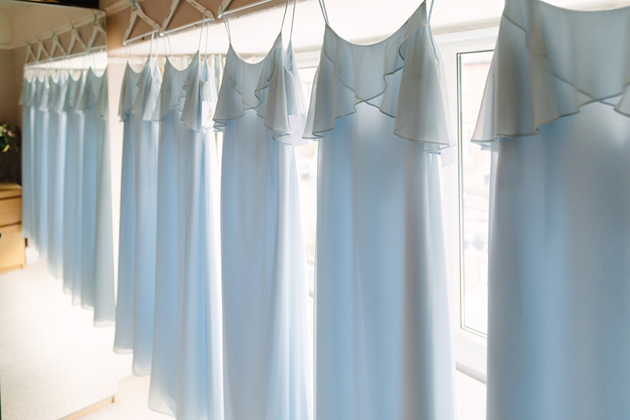 Pastel blue bridesmaids for a winter wedding in Mobberley, photo by Tony Fanning (1)