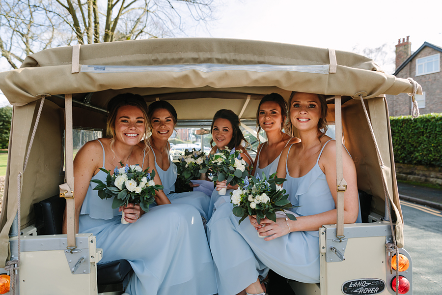 Pastel blue bridesmaids for a winter wedding in Mobberley, photo by Tony Fanning (11)