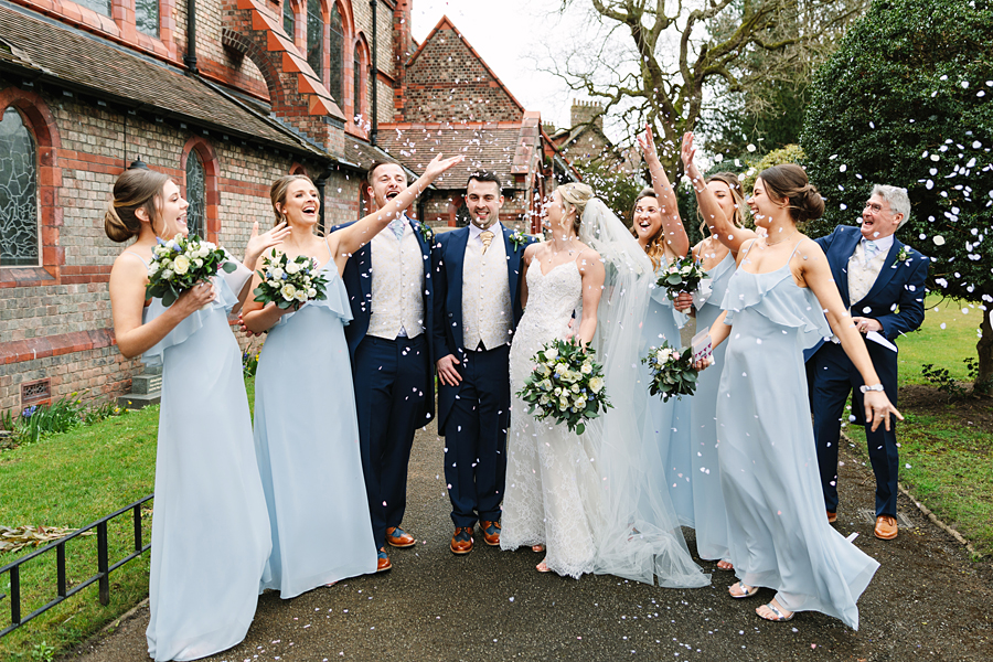 Pastel blue bridesmaids for a winter wedding in Mobberley, photo by Tony Fanning (17)
