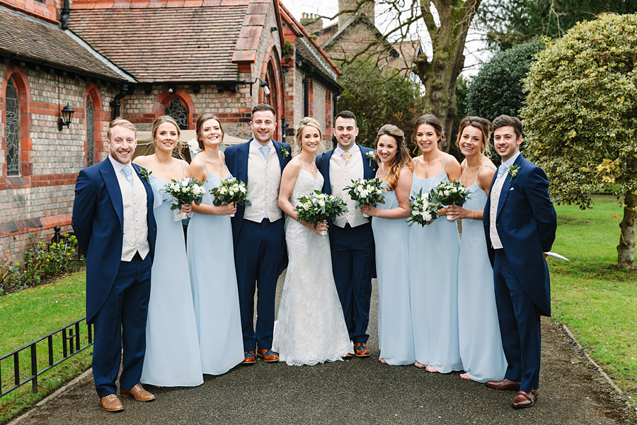 Pastel blue bridesmaids for a winter wedding in Mobberley, photo by Tony Fanning (18)