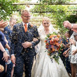 Sarah & Michael's fabulous cobalt blue and orange Mapperton House wedding, with Linus Moran Photography
