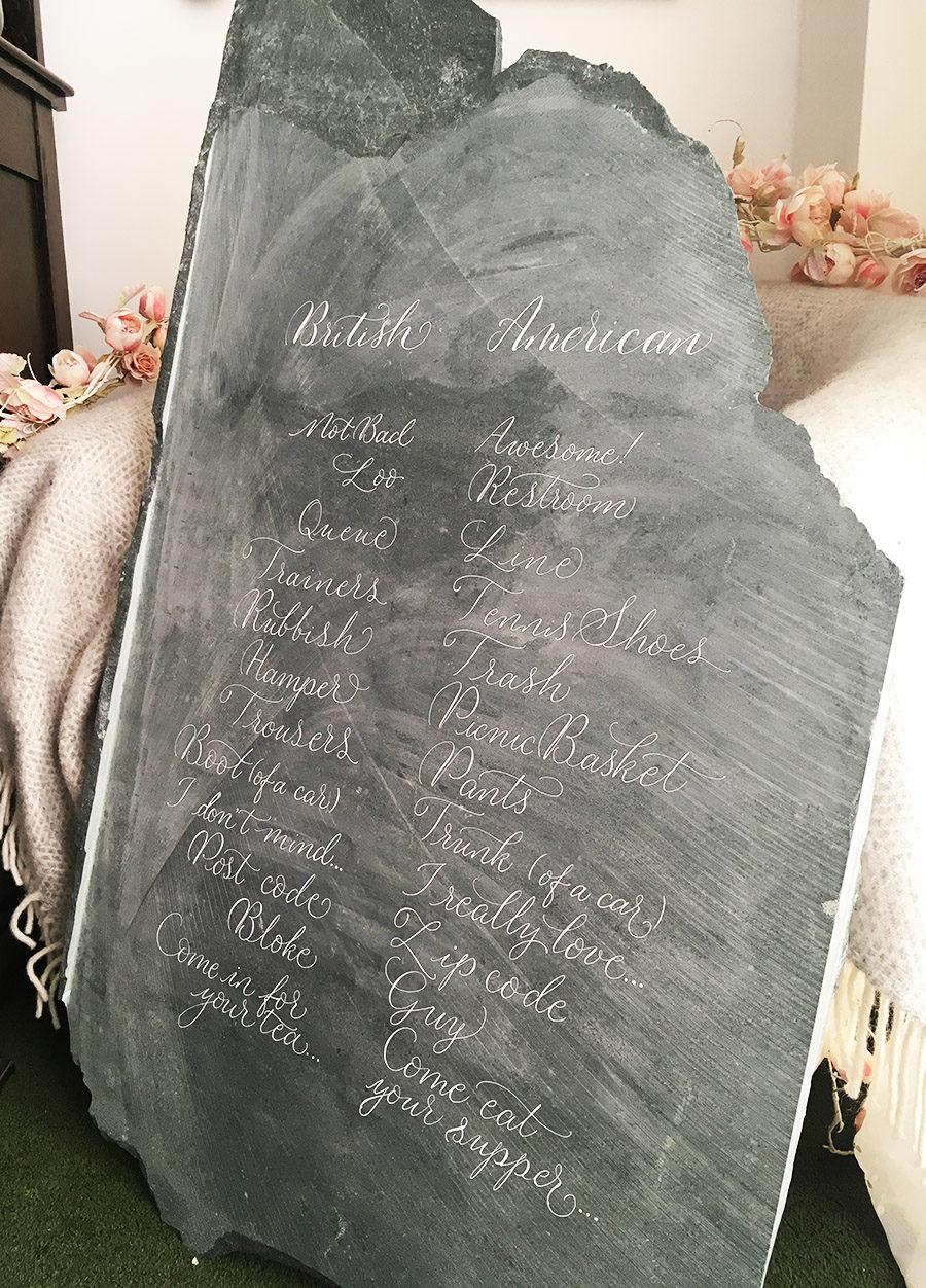 uk calligraphy on slate for weddings