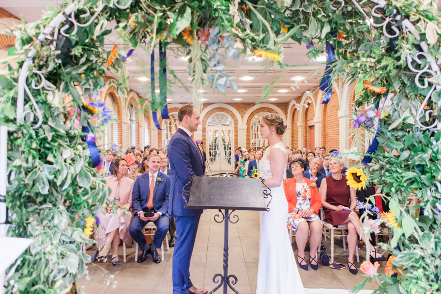 Sunflowers, roses and a beautiful backless wedding dress for this gorgeous Great Fosters wedding. Images by Amanda Karen Photography (16)
