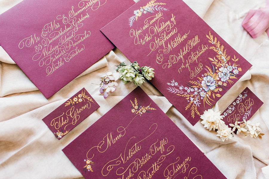 as featured in Brides Magazine. Calligraphy - Claire Gould. Photography - Jessica Reeve