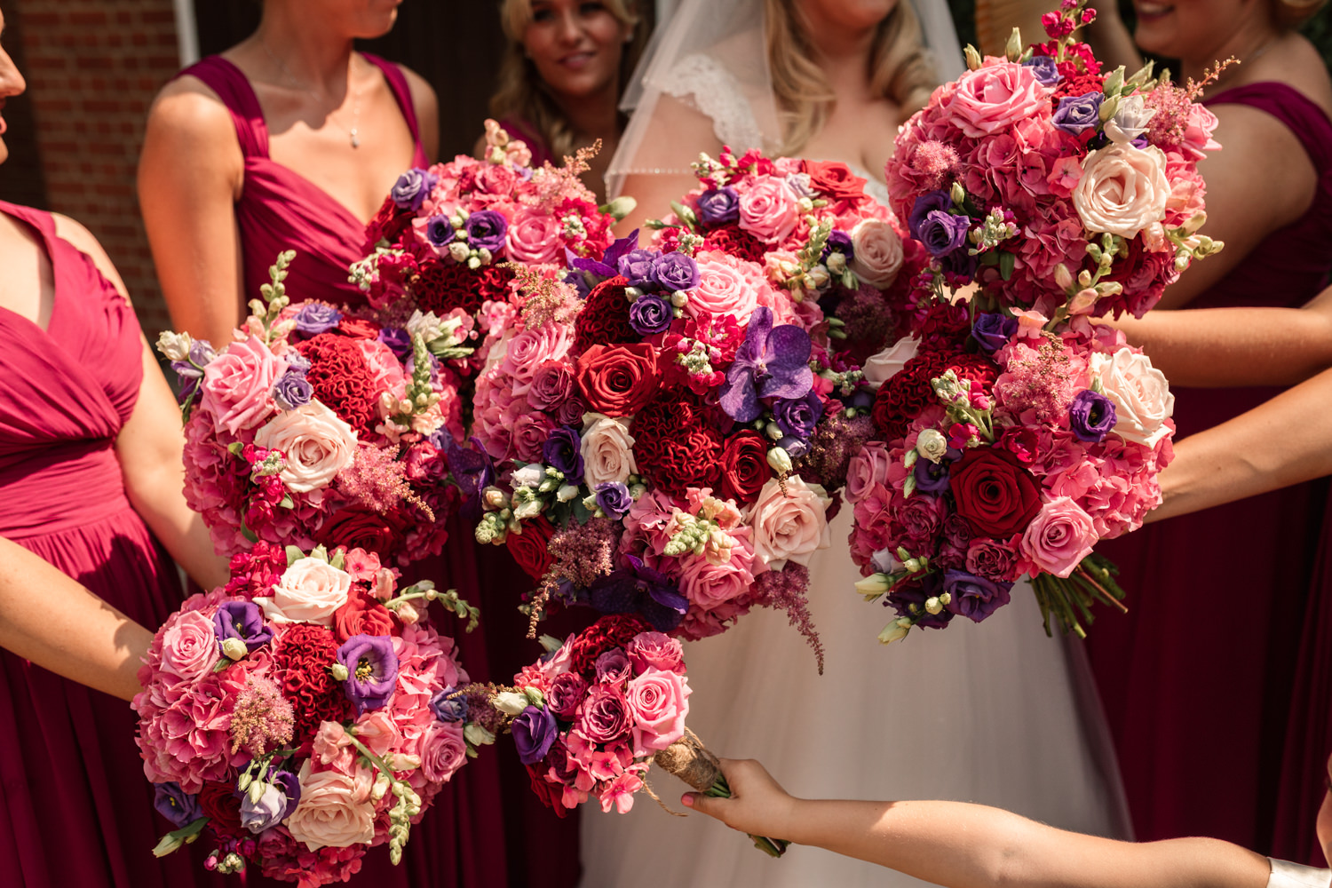 Flower filled summer wedding with pink hydrangeas, photo credit Becky Harley Photography (12)