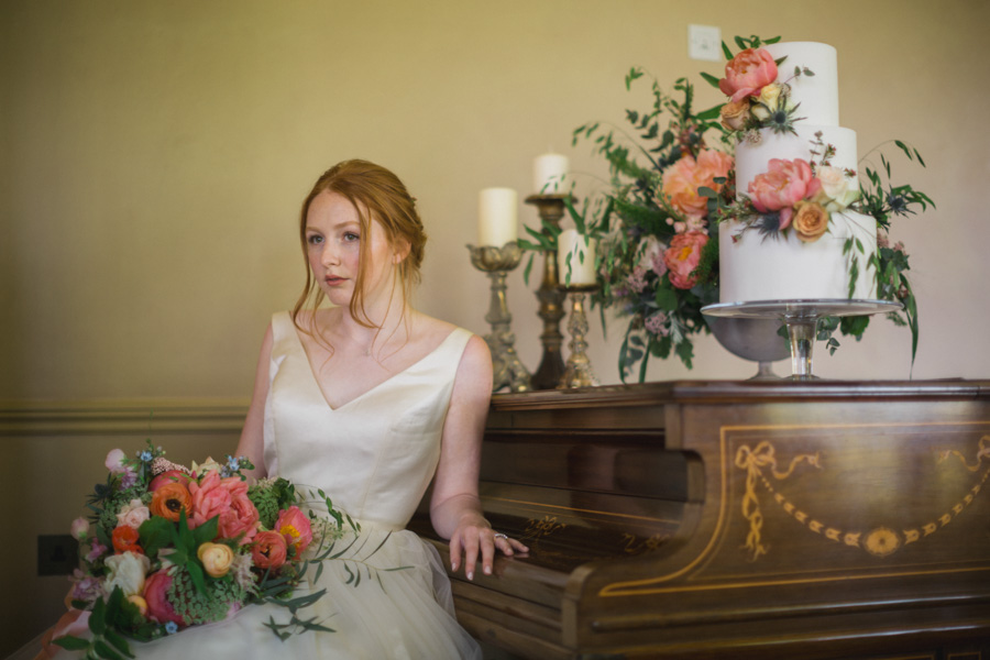 Divine wedding styling with English country garden florals at Pauntley Court, photo credit Red Maple Photography (10)