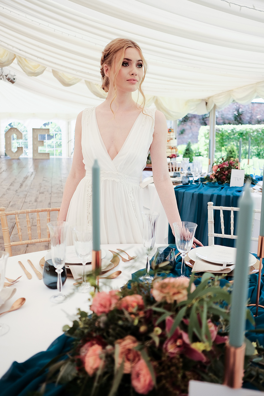 Rustic boho marquee wedding style, image credit James Kemp Photography on English-Wedding.com (25)