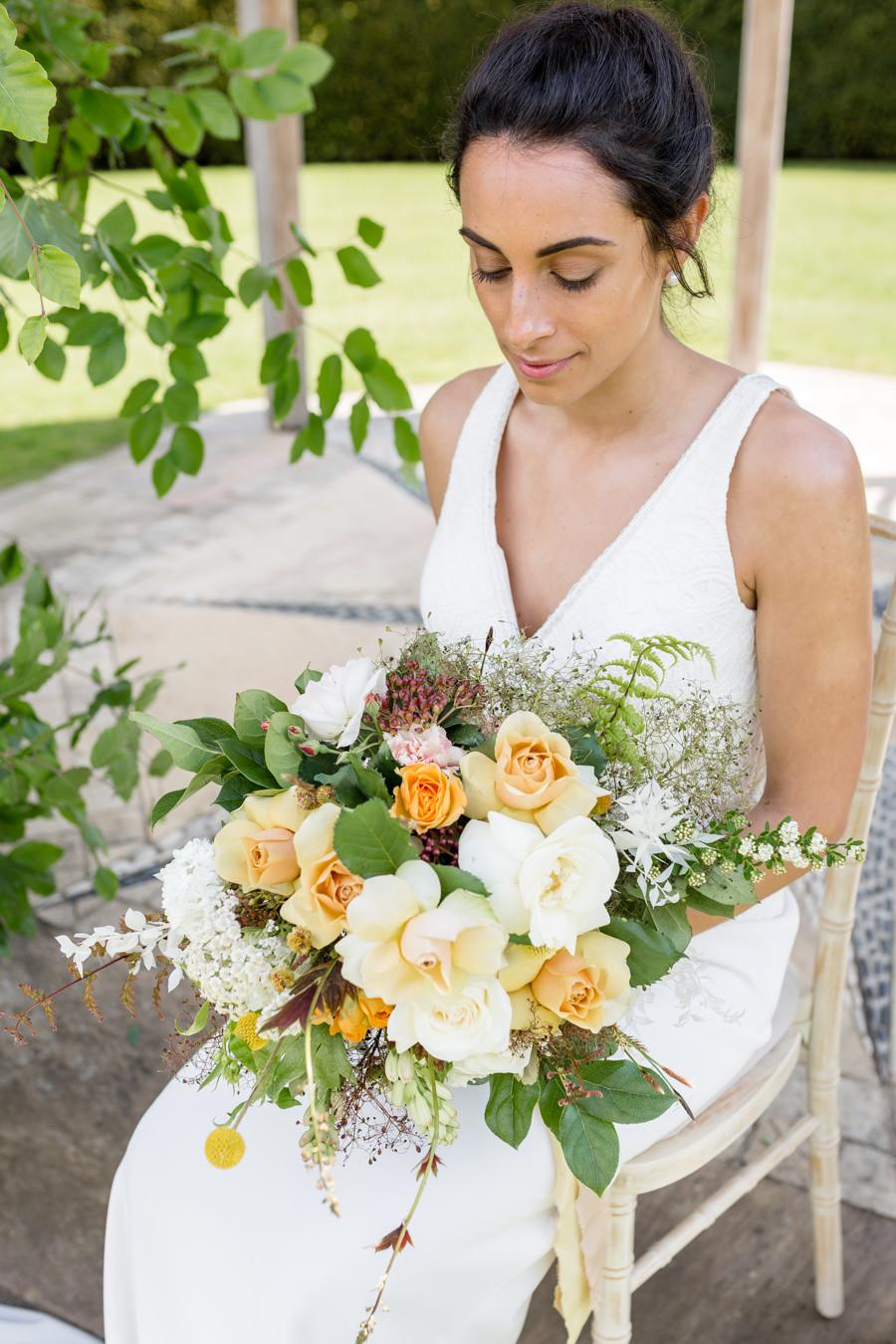 Boho luxe wedding style with soft orange and muted tones at Chippenham, image credit Heather Jackson Photography (19)