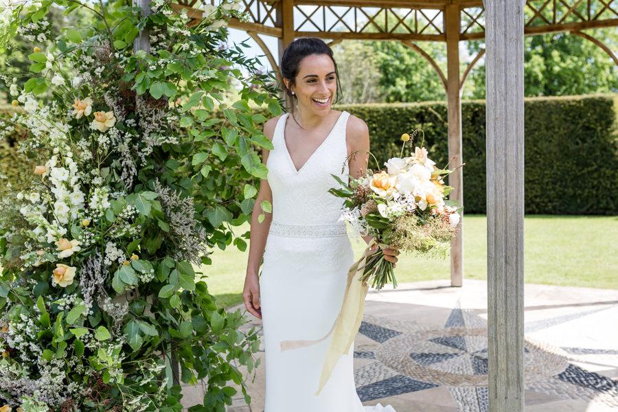 Boho luxe wedding style with soft orange and muted tones at Chippenham, image credit Heather Jackson Photography (21)