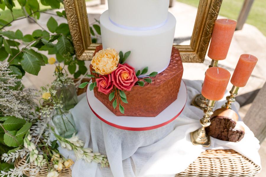 Boho luxe wedding style with soft orange and muted tones at Chippenham, image credit Heather Jackson Photography (23)