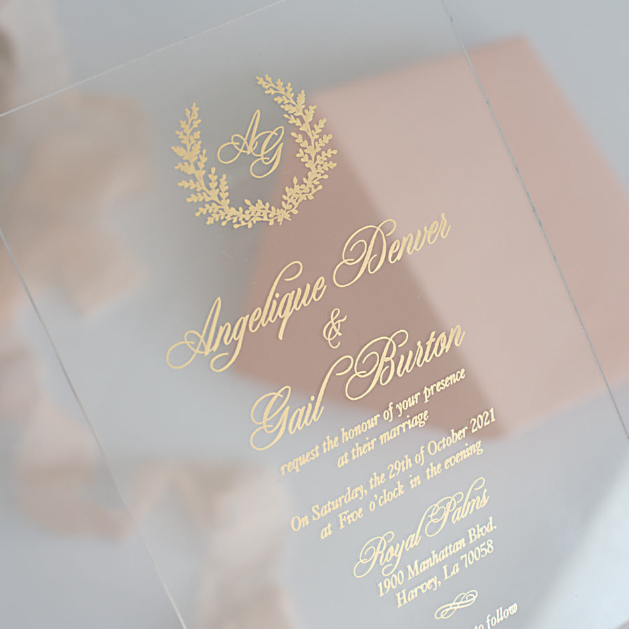 fine acrylic wedding stationery by Polina Perri
