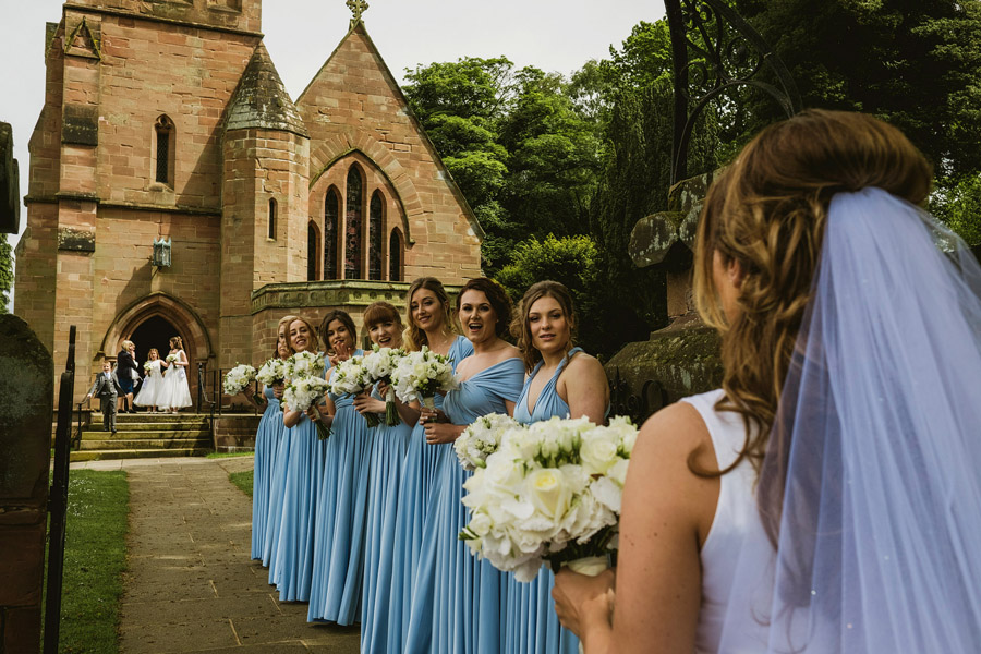 All the bridesmaids! Documentary wedding photographers York Place Studios at Alrewas Hayes