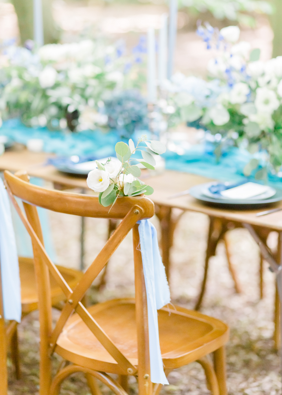 Beautiful and delicate blue tones for a woodland wedding styled by Sara's Events Flowers. Photo credit Natalie Stevenson Photography (21)