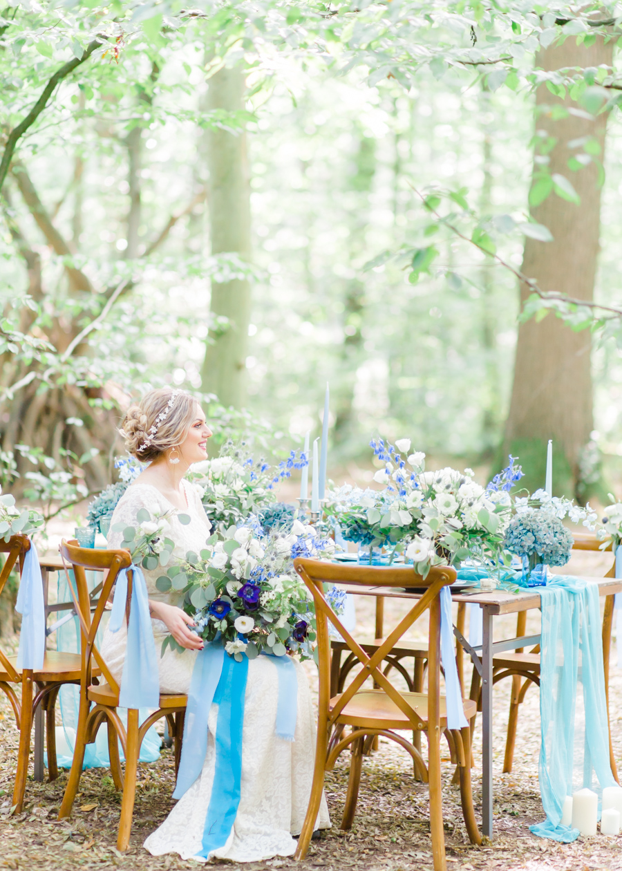 Beautiful and delicate blue tones for a woodland wedding styled by Sara's Events Flowers. Photo credit Natalie Stevenson Photography (22)