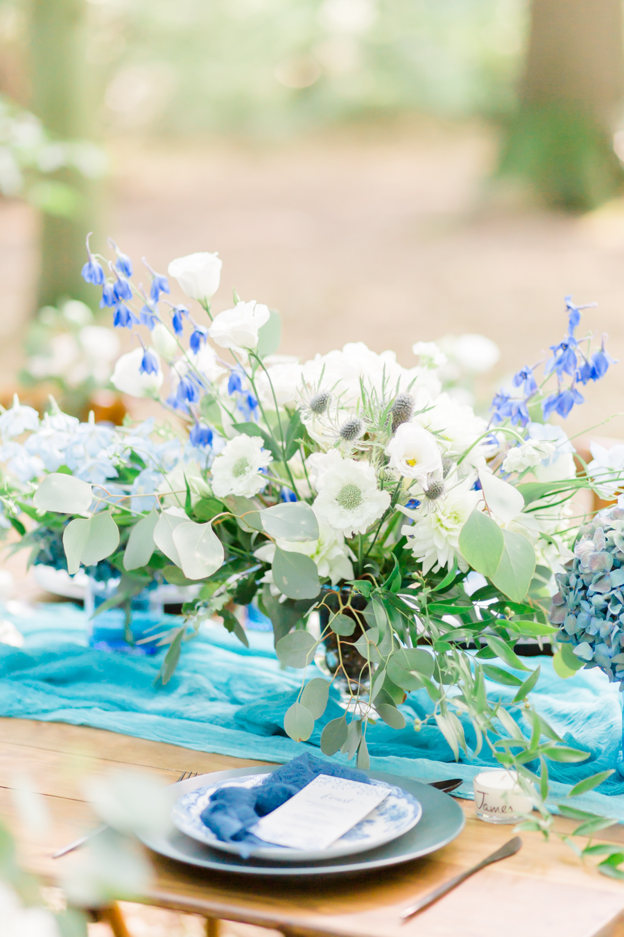 Beautiful and delicate blue tones for a woodland wedding styled by Sara's Events Flowers. Photo credit Natalie Stevenson Photography (24)