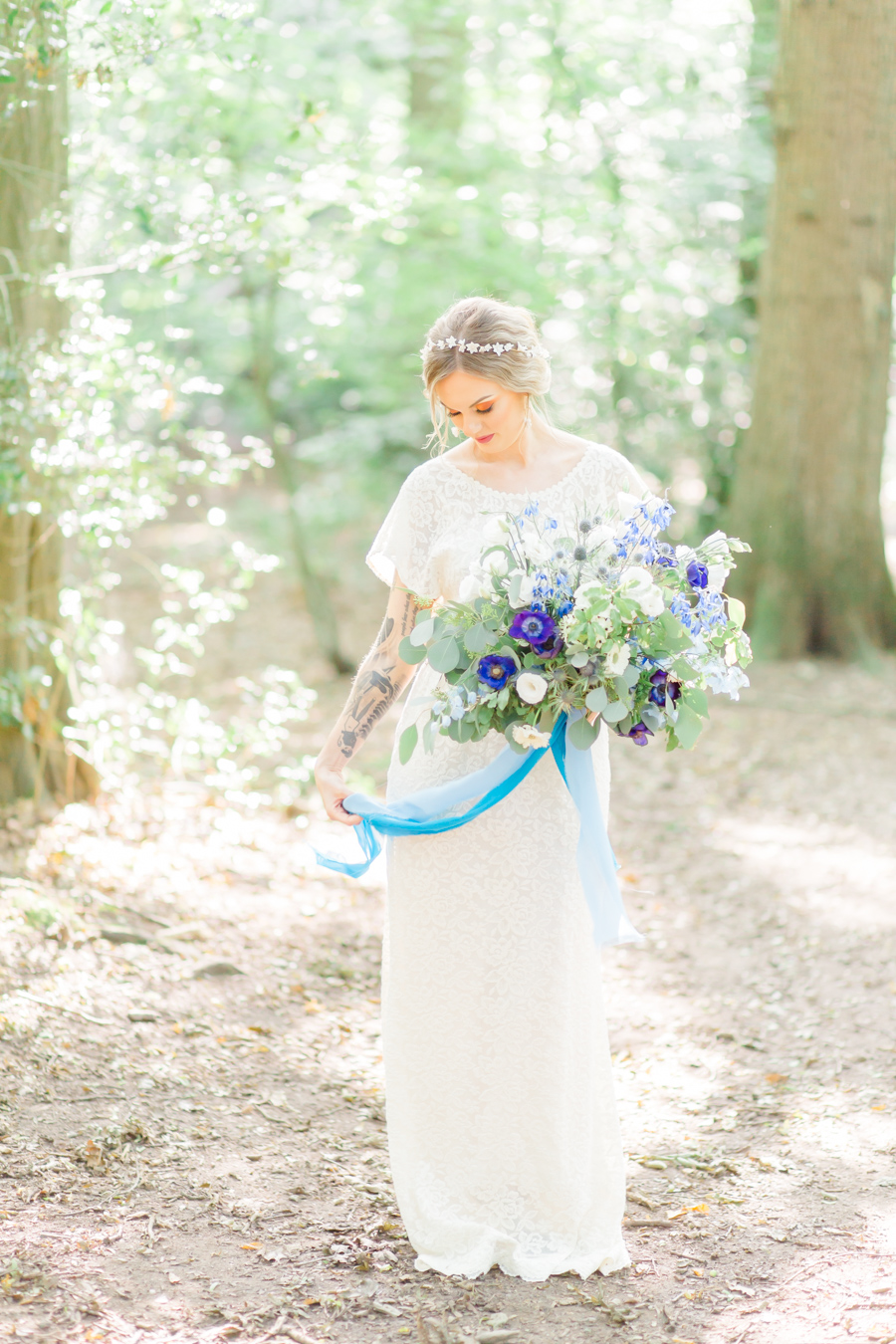 Beautiful and delicate blue tones for a woodland wedding styled by Sara's Events Flowers. Photo credit Natalie Stevenson Photography (27)