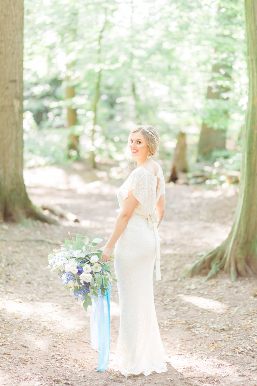 Beautiful and delicate blue tones for a woodland wedding styled by Sara's Events Flowers. Photo credit Natalie Stevenson Photography (29)