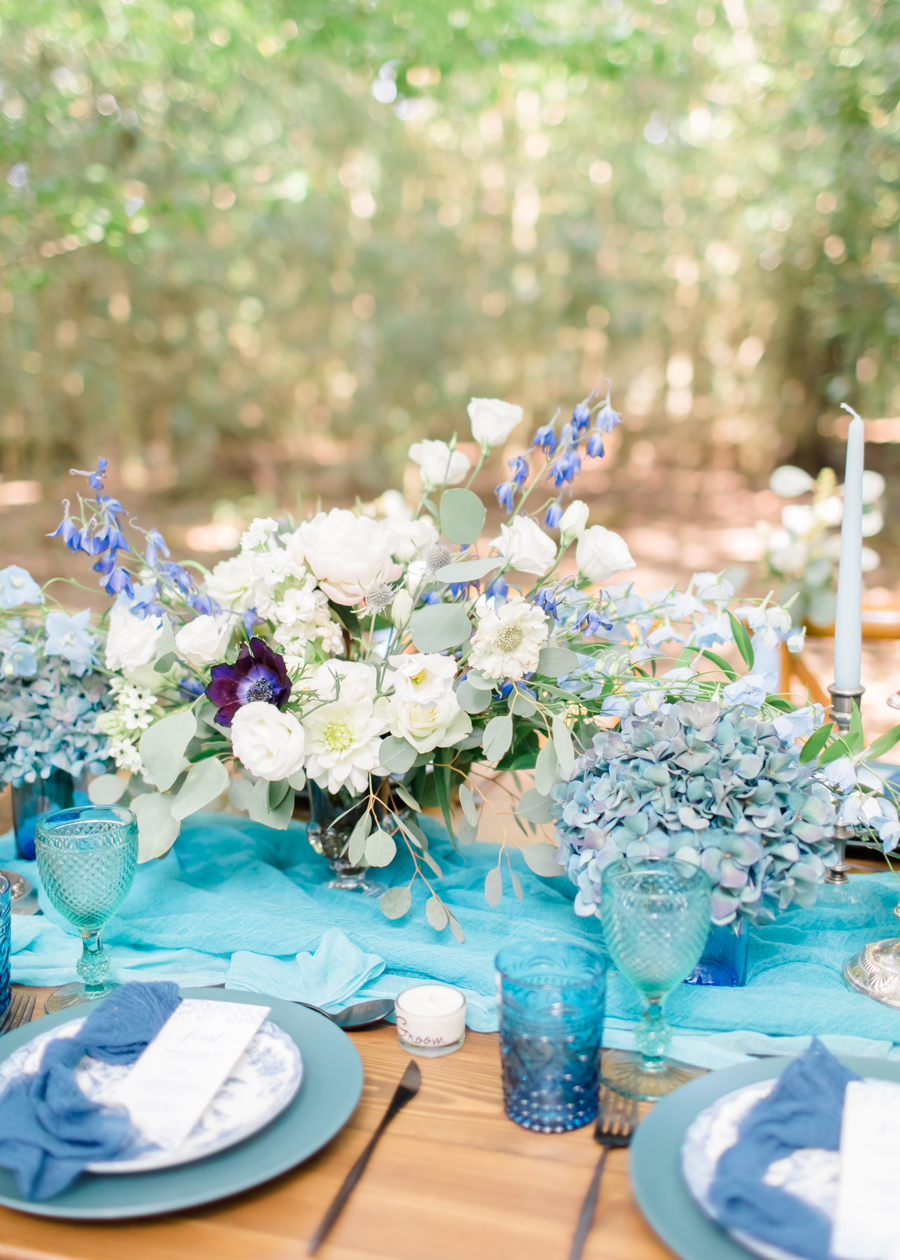 Beautiful and delicate blue tones for a woodland wedding styled by Sara's Events Flowers. Photo credit Natalie Stevenson Photography (4)