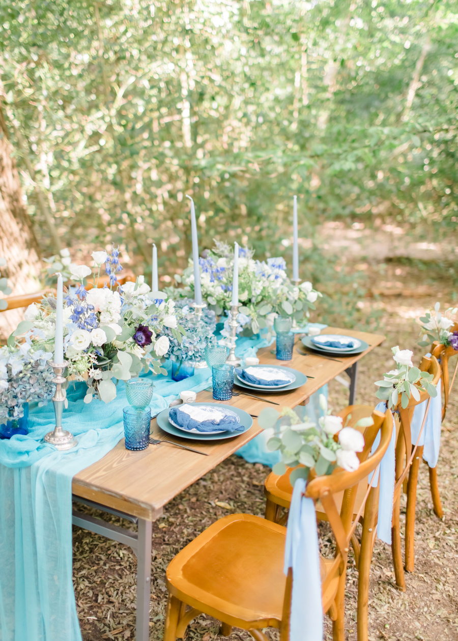 Beautiful and delicate blue tones for a woodland wedding styled by Sara's Events Flowers. Photo credit Natalie Stevenson Photography (5)