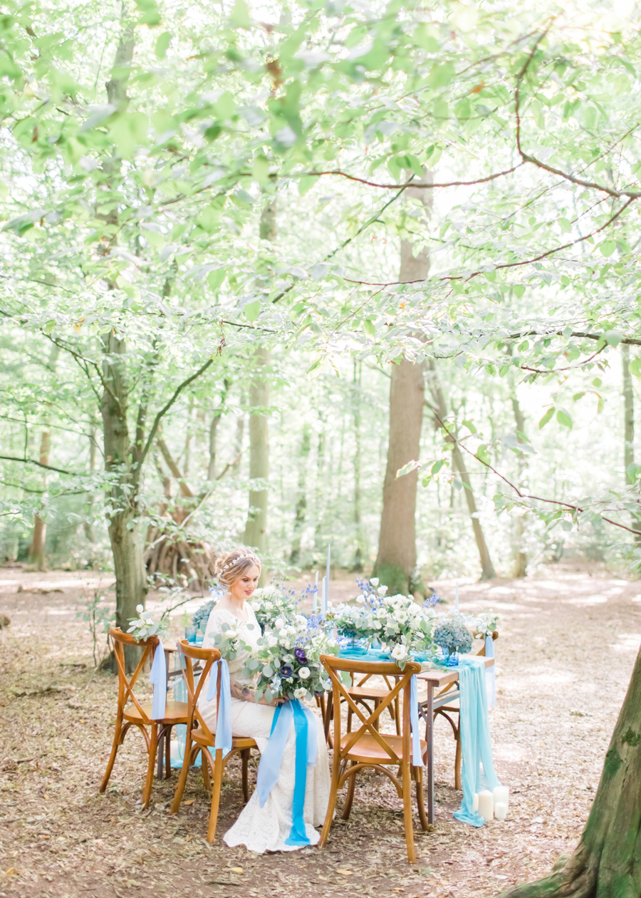 Beautiful and delicate blue tones for a woodland wedding styled by Sara's Events Flowers. Photo credit Natalie Stevenson Photography (11)