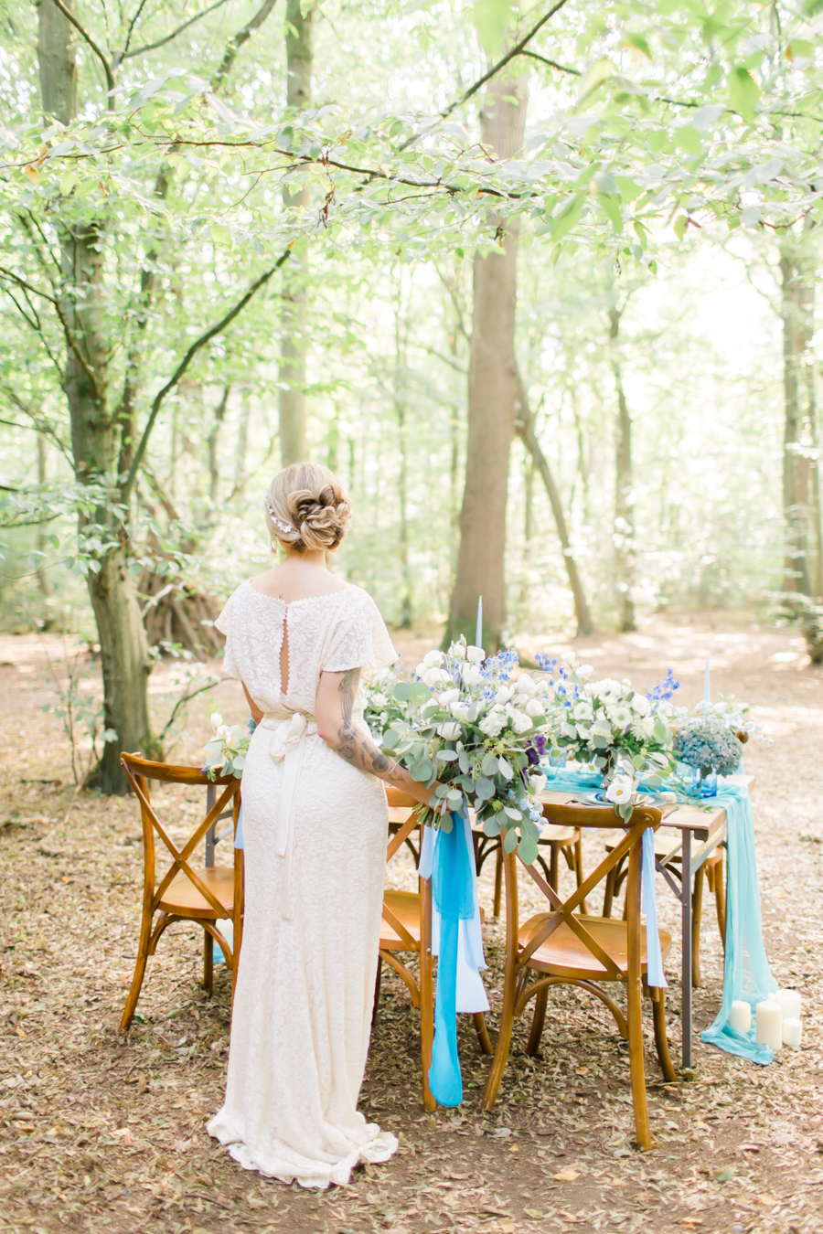 Beautiful and delicate blue tones for a woodland wedding styled by Sara's Events Flowers. Photo credit Natalie Stevenson Photography (12)