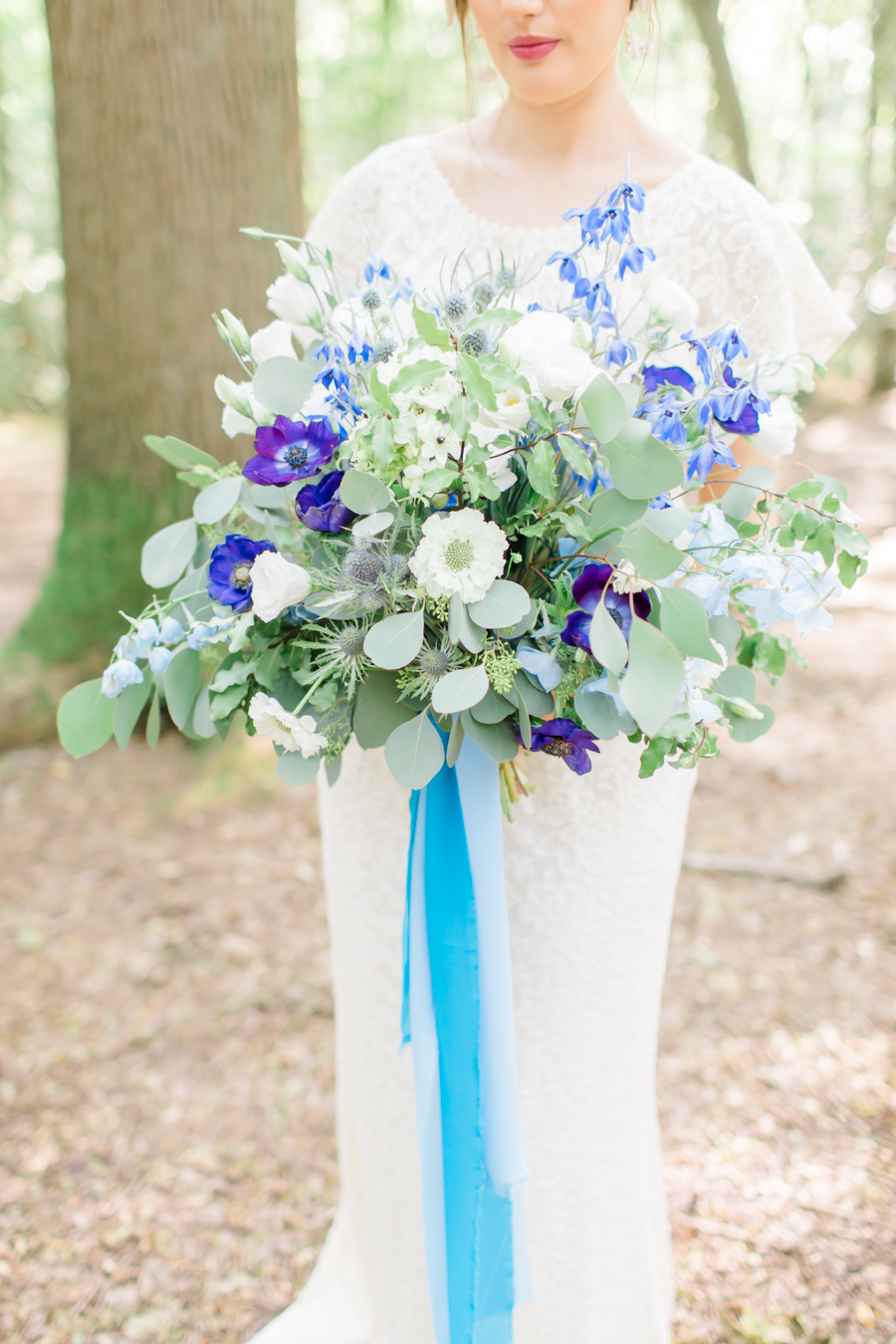 Beautiful and delicate blue tones for a woodland wedding styled by Sara's Events Flowers. Photo credit Natalie Stevenson Photography (16)