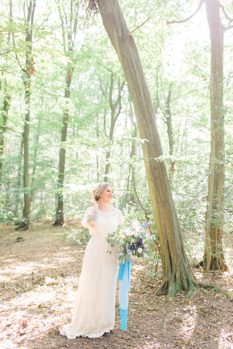 Beautiful and delicate blue tones for a woodland wedding styled by Sara's Events Flowers. Photo credit Natalie Stevenson Photography (17)