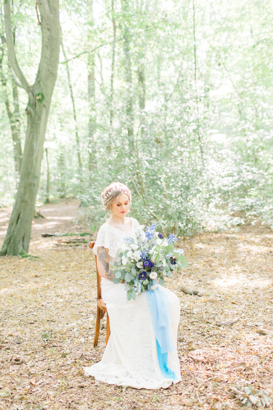 Beautiful and delicate blue tones for a woodland wedding styled by Sara's Events Flowers. Photo credit Natalie Stevenson Photography (19)