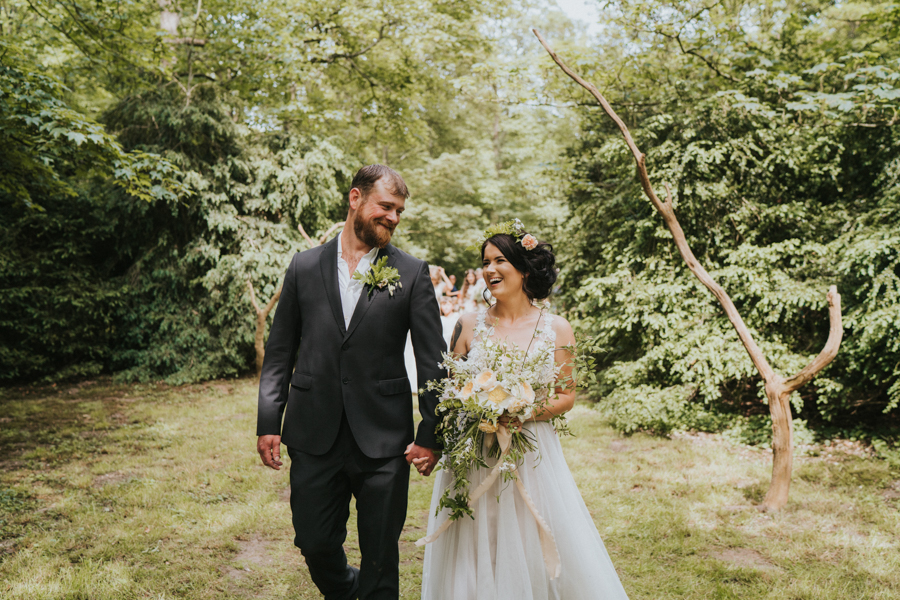 Mel and Rocky's boho forest wedding at Narborough Hall Gardens Norfolk