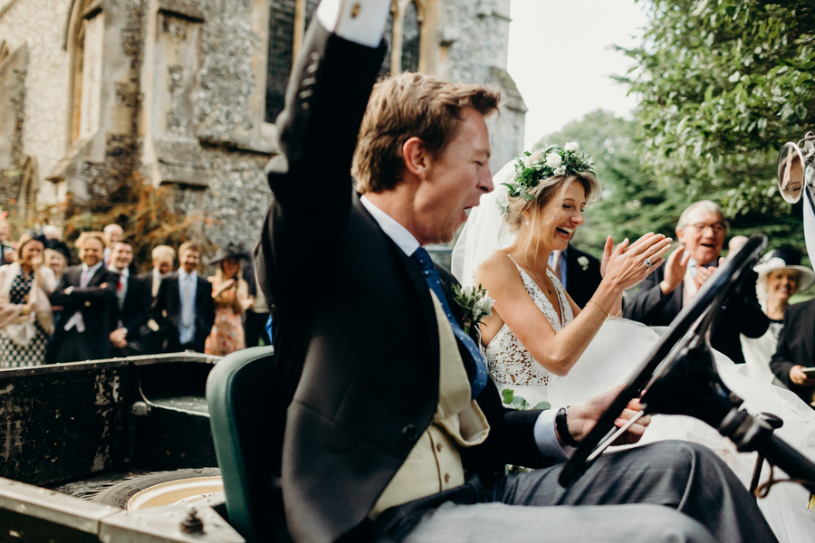 Mike and Charlotte finally starting their car at St Mary Therfield - image by Richard Skins Photography