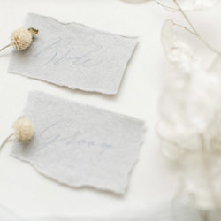 Calligraphy and styling ideas for winter weddings