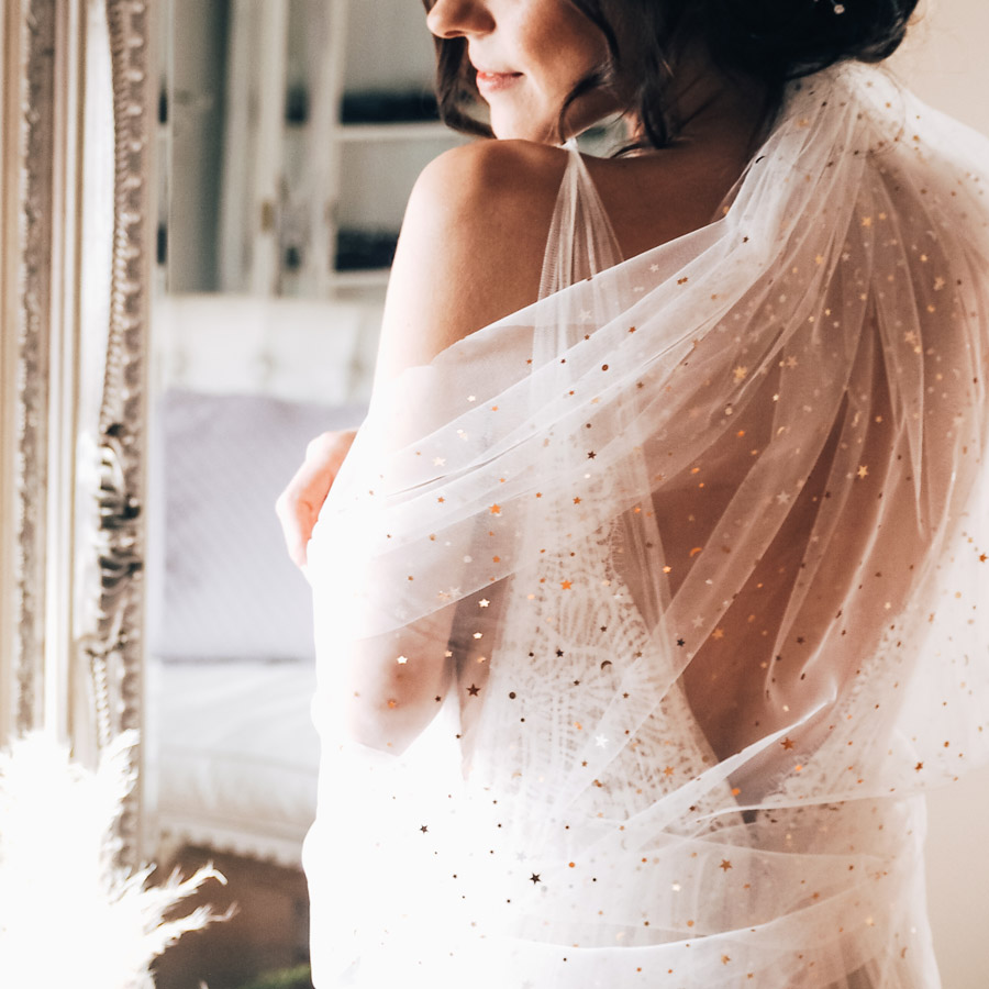 Bespoke star veil - photo by Lauren Barber