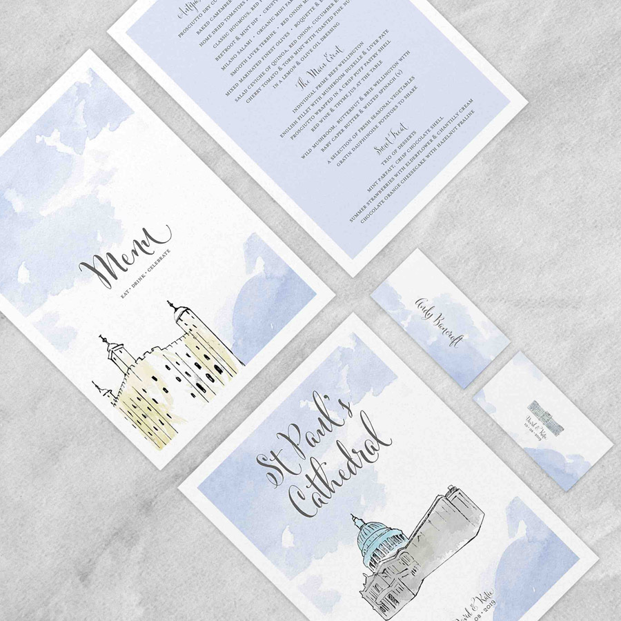 Illustrated wedding invitations by Love Invited UK (2)